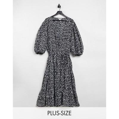 グラマラス レディース ワンピース トップス Glamorous Curve midi wrap dress with tiered skirt in vintage floral