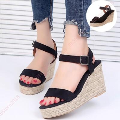 サンダル ヒール 厚底 レディース 約7センチ ウェッジソールサンダル キャバ キャバサンダル 厚底サンダル 女性 履きやすい ウエッジソール 靴 ストラップ 幅広