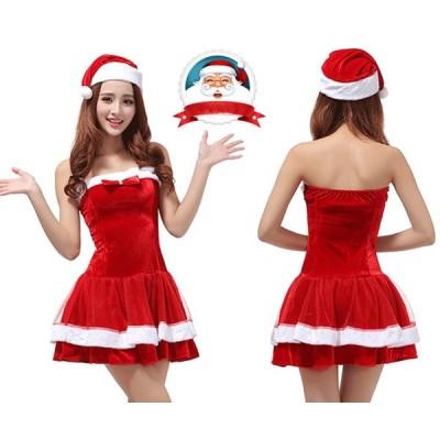 クリスマス衣装 レディース ワンピース+帽子  サンタクロース2点セット サンタ服装 演出服 コスチューム レディース 大人 女性用 セクシー イベント