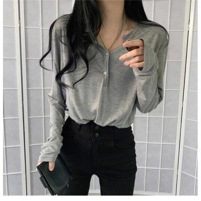 長袖Tシャツ レディース Tシャツ インナー ゆったり インナーウェア 薄手 ラウンドネック カットソー 長袖 コットンTシャツ 重ね着 トップス
