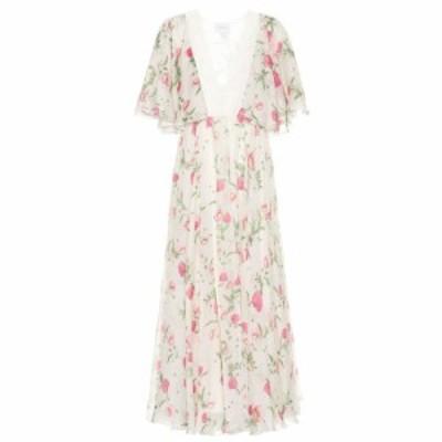 ジャンバティスタ バリ Giambattista Valli レディース ワンピース ミドル丈 ワンピース・ドレス Lace-trimmed floral silk midi dress C