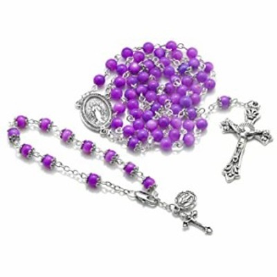 Big A Solutions River Pearl Rosary Beads + Bracelet - Catholic - for Women and Girls - Rosary is Handmade Comes in Velvet Pouch