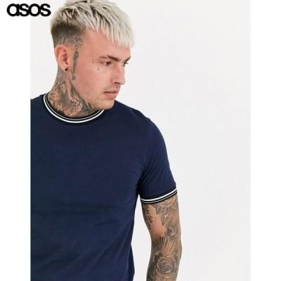 エイソス メンズ ネイビー 半袖Tシャツ