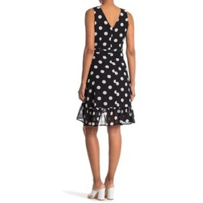 パピロン レディース ワンピース トップス Polka Dot Ruffle Waist Tie Dress BLACK