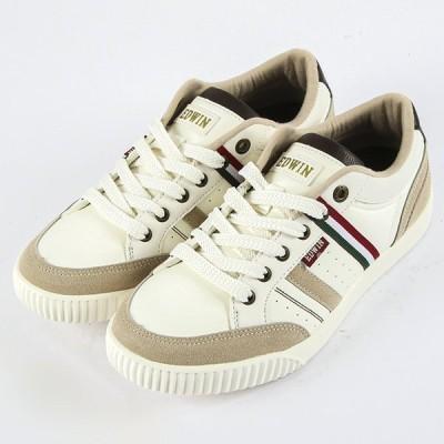 EDWIN エドウィン スニーカー メンズ コート EDW7036 ホワイト/グリーン 25cm〜28cm サイドライン 靴 シューズ