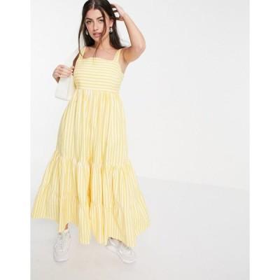 ピープルツリー マキシドレス レディース People Tree maxi dress with tiered skirt in summer stripe organic cotton エイソス ASOS イエロー 黄