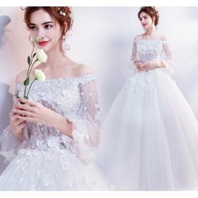 結婚式ワンピース お嫁さん 豪華な ウェディングドレス 花嫁 ドレス オフショルダー エレガントなワンピース 姫系ドレス 白ドレス