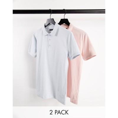 エイソス ASOS DESIGN メンズ ポロシャツ 2点セット トップス 2 pack organic muscle fit jersey polo マルチカラー