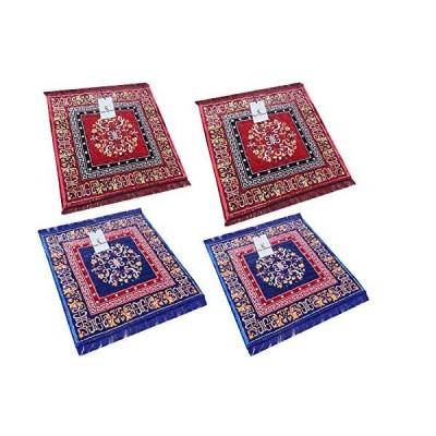 Kuber Industries Red Pooja Aasan, Mat Set of 4 Pcs (2 Ft X 2 Ft)