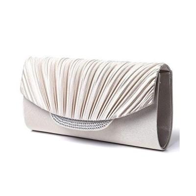 Life Innovation ビジュー ラインストーン パーティーバッグ サテン プリーツ クラッチバッグ バッグ レディース (シャンパンゴールド