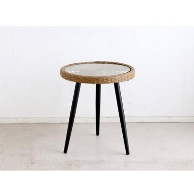 サイドテーブル 丸型 円形 リゾートテイスト アウトドア ラタン調 幅50 北欧 おしゃれ リゾネアサイドテーブル 東馬