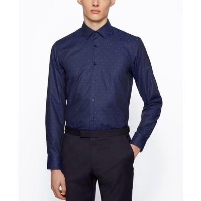 ヒューゴボス シャツ トップス メンズ BOSS Men's Jesse Slim-Fit Cotton Shirt Navy
