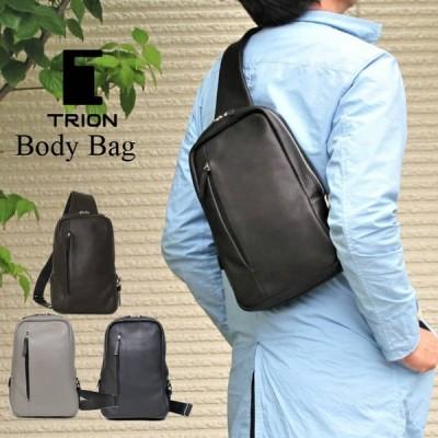 ボディバッグ 縦型 本革 TRION トライオン シボ革 B5 小さめ 鞄 ミニ ブラック グレー ネイビー チョコ メンズバッグ DT105