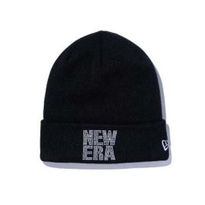 ニューエラ ニット帽 帽子 メンズ レディース ニット カフニット ビーニー ニット帽子 ラインストーン スクエア ロゴ 定番 無地 黒 ブラ