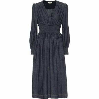 フェンディ Fendi レディース パーティードレス ミドル丈 ワンピース・ドレス cotton-chambray midi dress Navy