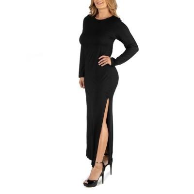 24セブンコンフォート ワンピース トップス レディース Form Fitting Long Sleeve Side Slit Plus Size Maxi Dress Black