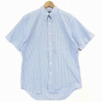 【中古】スキャッティー SCHIATTI カジュアル シャツ 半袖 BD ボタンダウン ストライプ ブルー M トップス メンズ
