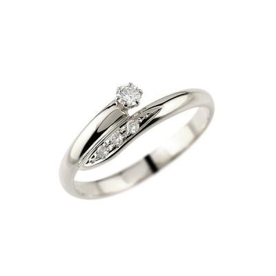 ピンキーリング 指輪 ホワイトゴールドk18ダイヤモンド 18金 ダイヤモンドリング ダイヤ ストレート 送料無料