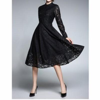 結婚式 ロングドレス 袖あり 大きいサイズ ドレス 黒 結婚式 お呼ばれ レース かわいい ロング  パーティードレス 黒 二次会 謝恩会 同窓