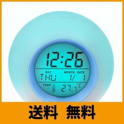 目覚まし時計 HAMSWAN デジタル時計 大音量 卓上 自然音 見やすい 丸いアラームクロック 目覚まし7色LEDライト アラーム&スヌー ズ機能付