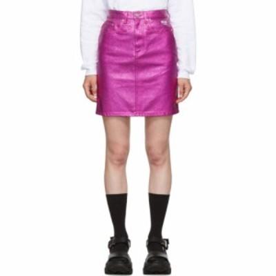 エムエスジーエム MSGM レディース ミニスカート スカート pink denim metallic miniskirt Fuchsia