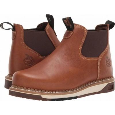 ジョージアブーツ Georgia Boot メンズ ブーツ チェルシーブーツ ウェッジソール ワークブーツ シューズ・靴 AMP LT Wedge Chelsea Soft Toe Work Boot Brown