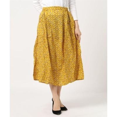 スカート プリント切り替えギャザースカート