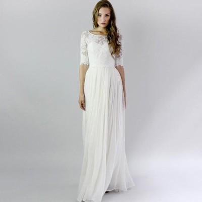 パーティードレス 結婚式 5分袖 レース ウェディングドレス ホワイト ロングドレス プリンセス 披露宴 花嫁ドレス ブライダル 挙式 二次会ドレス