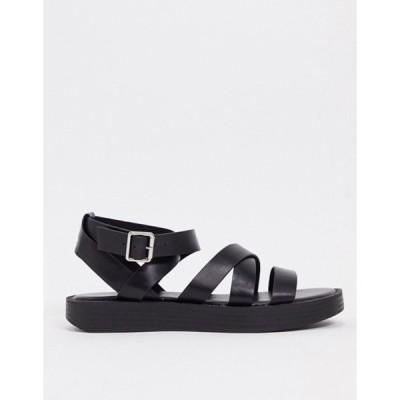 プルアンドベアー レディース サンダル シューズ Pull&Bear strappy chunky sandals in black