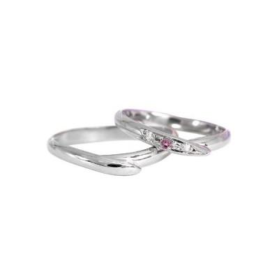 結婚指輪 ペアリング マリッジリング ストレート 甲丸 ダイヤモンド ピンクサファイアホワイトゴールドK18 18金 ダイヤ 2.3 メンズ レディース 送料無料