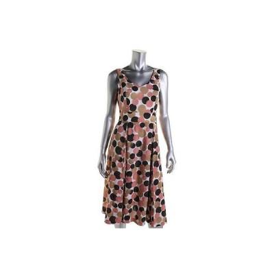 ドレス 女性  アンクライン Anne Klein 6181 レディース ホワイト Polka Dot Box Pleat ノースリーブ カジュアル ドレス 16