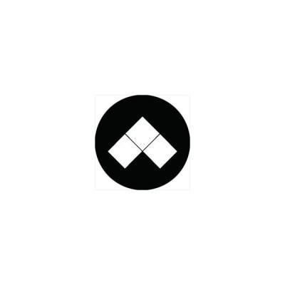 家紋シール 三つ盛り菱紋 直径4cm 丸型 白紋 4枚セット KS44M-1463W