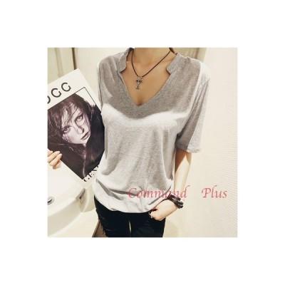 Tシャツ レディース Vネック トップス スキッパーシャツ 5分袖 半袖 大きいサイズ