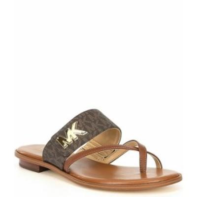 マイケルコース レディース サンダル シューズ Michael Michael Kors Sidney Logo Print Flat Sandals Brown/Black