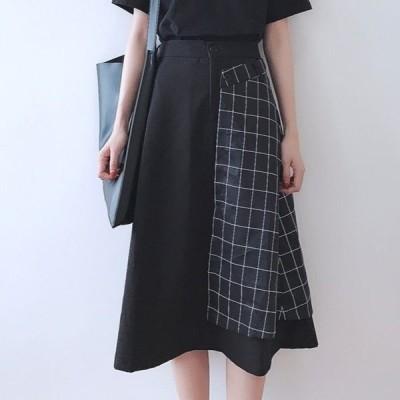 スカート アンバランスデザイン アシンメトリー 切り替えデザインロングスカート チェック柄 格子柄 ミモレ丈 きれいめ