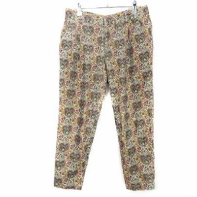 【中古】パンソー Pinceau パンツ テーパード 総柄 38 緑 グリーン /M2 レディース