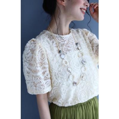 シャツ ブラウス リボンチュールで描く浮かぶ花ブラウストップス