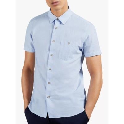 テッドベーカー シャツ メンズ トップス Ted Baker Teryaki Micro Stripe Shirt, Mid Blue
