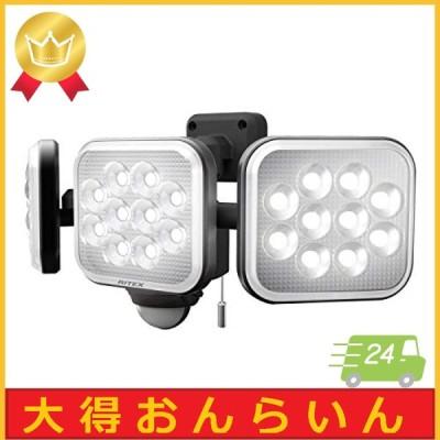 ムサシ(MUSASHI) センサーライト ブラック 本体サイズ: 幅 32.2  奥行 15 高さ 13.5 cm 14W3灯フリーアーム式LEDセンサー