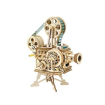 DIY 3D Wooden Puzzle Laser-Cut Mechanical Wind-Up Puzzle Model Kit, Premium Quality Wood, Non-Toxic and Safe. (Vitascope)
