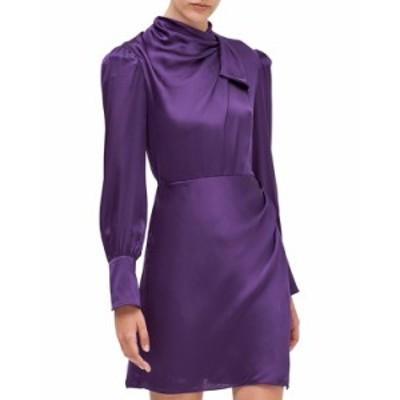 ケイトスペード レディース ワンピース トップス drape neck silk dress PLUM