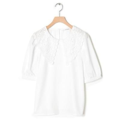 (w closet/ダブルクローゼット)衿レースブラウス/レディース ホワイト