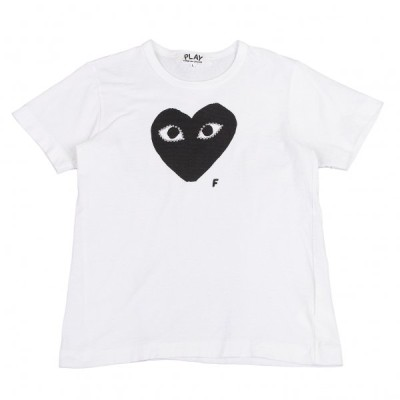 プレイ コムデギャルソンPLAY COMME des GARCONS アイラインストーンハートプリントTシャツ 白L 【レディース】