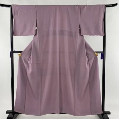 色無地 秀品 地紋 薄紫 袷 身丈159.5cm 裄丈65cm M 正絹 中古 PK50