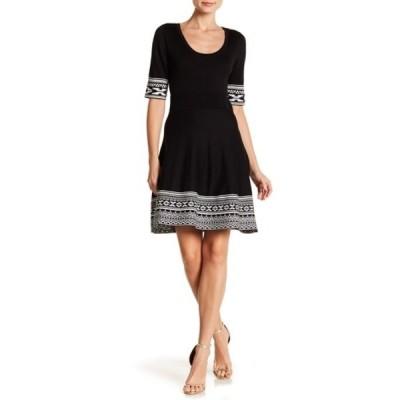ニナレオナルド レディース ワンピース トップス Border Scoop Neck Knit Dress BLACK-IVORY