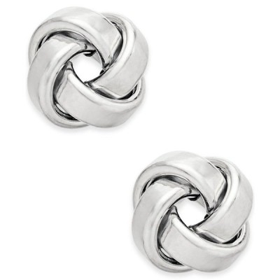 イタリアン ゴールド ピアス&イヤリング アクセサリー レディース Love Knot Stud Earrings in 14k Gold or White Gold White Gold
