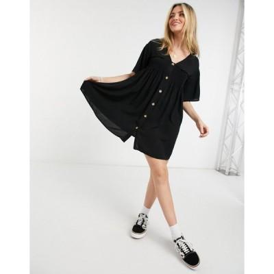 エイソス ミニドレス レディース ASOS DESIGN shirred button through mini smock dress in black エイソス ASOS ブラック 黒