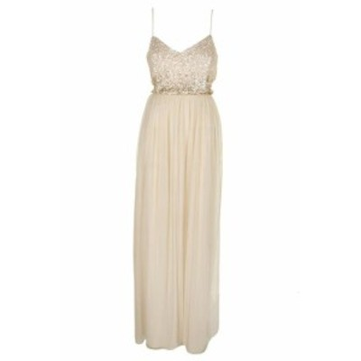 Adrianna Papell アドリアーナ パペル ファッション ドレス Adrianna Papell Light Beige Sleeveless Sequin-Embellished Tulle Gown 12
