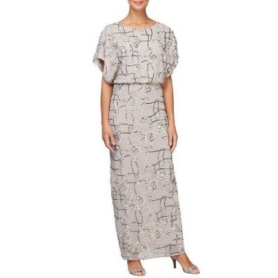 アレックスイブニングス レディース ワンピース トップス Short Flutter Sleeve Jewel Neck Sequin Blouson Gown Taupe