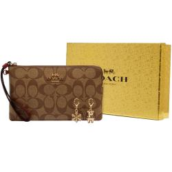 【COACH】雪花x小熊x紅邊卡其PVC大款手拿包禮盒組